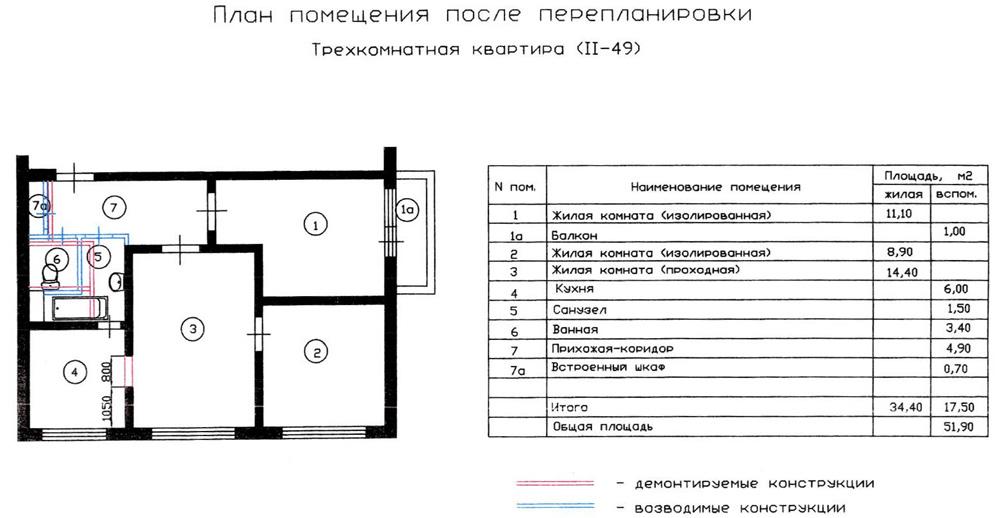 Перепланировка трехкомнатной квартиры серии ii-49. вариант 1.