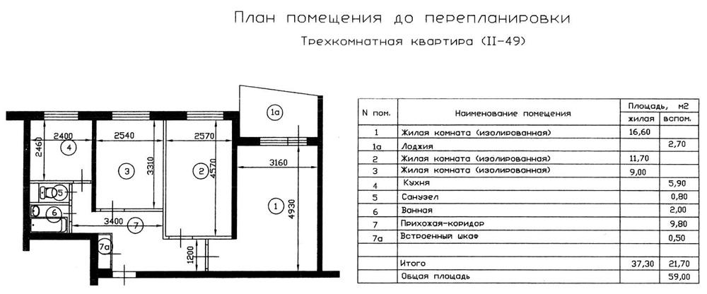 Перепланировка 2-комнатной квартиры в доме серии 18