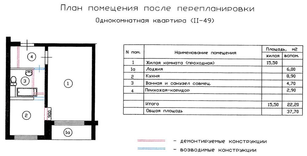 Перепланировка однокомнатной квартиры серии ii-49. вариант 1.