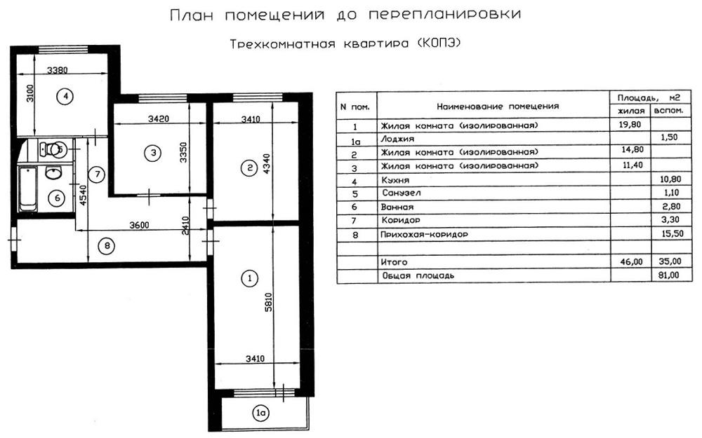План трехкомнатной квартиры дома серии копэ до перепланировк.