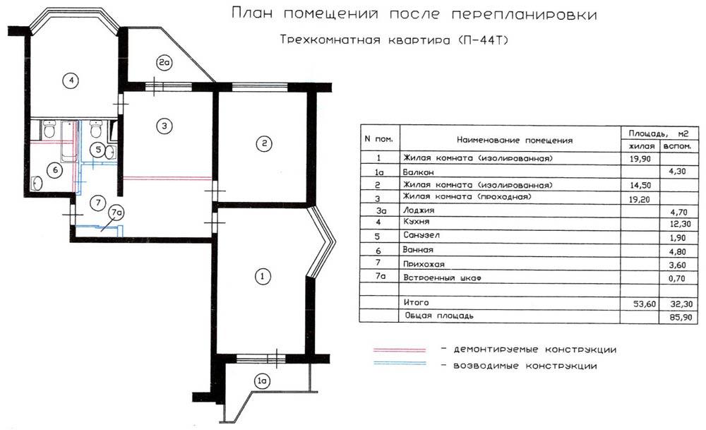 Перепланировка трехкомнатной квартиры п-44т. вариант 1.