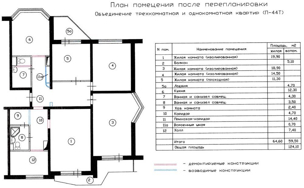 Перепланировка трехкомнатной и однокомнатной квартиры п-44т..