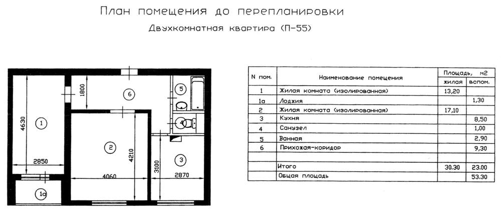 План двухкомнатной квартиры